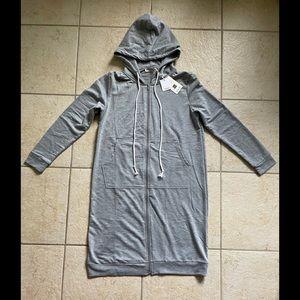 Grace Karin grey tunic zip hoodie size Small